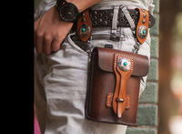 New Punk phone bag cell phone wallet handmade vegetable tanned leather Motorcycle bag bags strap holder Motor waist bag F-0729
