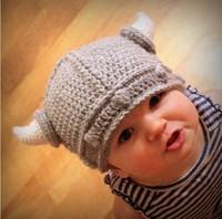 Children's winter hat handmade crocheted Viking horns hat knitted kids hat caps free shipping