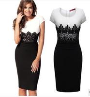 New 2014 Summer Spring Women Short-Sleeve Knee-Length Patchwork Lace Pencil Dress Casual Ladies Elegant Office Dresses