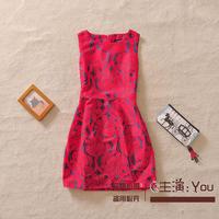 Free shipping 2014 autumn and winter new European style big jacquard vest dress temperament Slim was thin dress