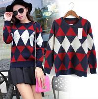 2014 winter new women sweater diamond geometric sweaters pattern pullover sweater women