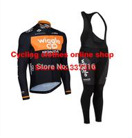 High quality!2014 dhb Team Wiggle Honda Winter Thermal Fleece Cycling Jersey bib pants Kits Ropa Ciclismo MTB Clothing Hot!!