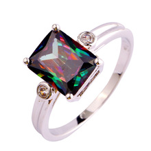 Wholesale Uuisex Jewelry Emerald Cut Mysterious Rainbow Topaz White Topaz 925 Silver Ring Size 6 7 8 9 10 Free Shipping