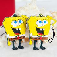 Free shipping Fashion Spongebob design key chain  lovers phone pendant 2pcs/pack 4*4.5cm