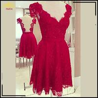 New 2015 Cocktail Dresses Red Lace Dress Women Vestido De Renda Backless Party Dresses Plus Size S-XL Free Shipping 1362610