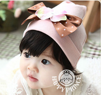 Retail Baby accessories Big Bow Beanie Hat Cotton Kids Cap Toddler Baby Girls Hat Spring Autumn Cap Photo Props Xmas Gift 1pc