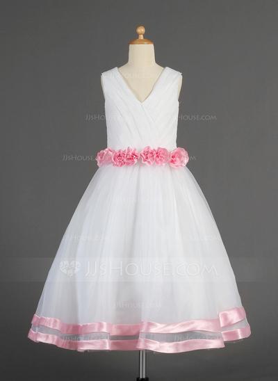 Customize 2015 Inexpensive Princess V-neck Tea-length Satin Organza Applique Beading wrap Flower Girl dress(China (Mainland))