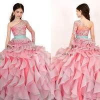 Long Sleeve Pink Little Girls Pageant Dresses One-Shoulder Beaded Ruffles Flower Girl Dresses Vestido Daminha FG044