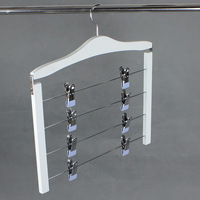 NATURAL WOODEN 4 TIER TROUSER BAR HANGER WITH PEGS - NON SLIP BARS CLOTHES COAT