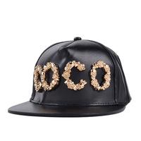 2014 Brand Design Autumn & Winter Fashion Blingbling Decoratting Snapback Black Leather Baseball Cap Hip Hop Hats Men & Women