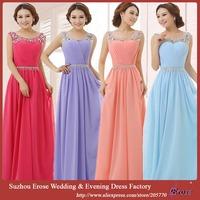 ADS-002 New Real Stock Beaded Scoop Sleeveless Chiffon 2015 Evening Dress Gown vestido de festa Free Shipping vestido longo