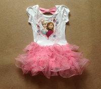 2014 New Design Summer Princess Girls frozen dress Kids Elsa's & Anna's dresses Baby Printed Dress Children's Cartoon Clothing