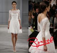 RBW106 Vestidos de Noiva 2014 A-Line O Neck None Train Half Sleeve Short Wedding Dresses Wedding Party Dress Bridal Gowns