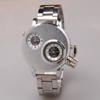 sports mens watches full stainless steel quartz watch novelty cool double movement display male clock relogio masculino charms