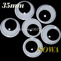 Size 35mm 100PCS Black And White Oval Design Imitate Animal Eye Dolls Eye For Toy DIY