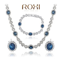 ROXI fashion new arrival, genuine Austrian crystal,Delicate heart of the ocean Jewelry Set, Chrismas/Birthday gift 20700395240