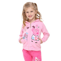 Pepe the pig peppa pig 2014 spring and autumn new cotton Girls Hooded Jacket F4329