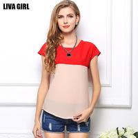 2015 Fashion Summer Women Chiffon Patchwork Plus Size Shirt Female Loose Short Sleeve Vintage Top T-Shirts 6 color blouses
