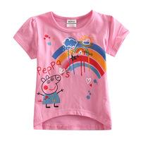 2014 cotton print Pepe pig peppa girl short sleeve T-shirt K4039