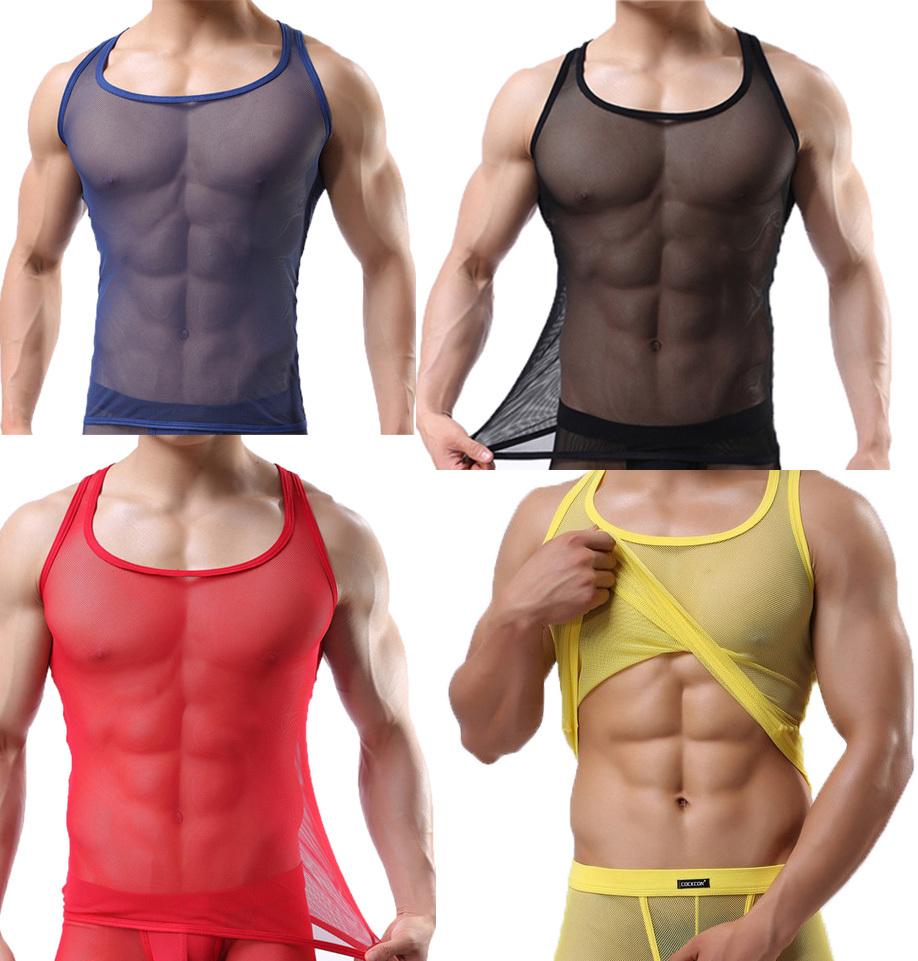 Men's Sexy See-through Round Neck Mesh Undershirt Sleeveless T-shirt Mesh Underwear Cool Only Tank Top(China (Mainland))