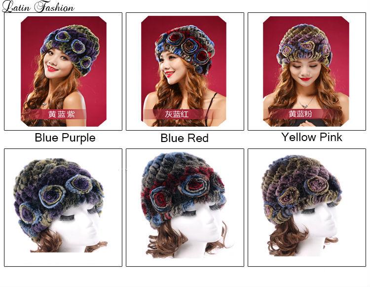 Rabbit Fur Pom Poms Caps Womens Hats Gorra Beanies GorrasChapeu Feminino Skullies BonnetFemme Gorros Beanie Winter Cap Women Hat(China (Mainland))