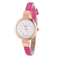 2014 New Arrival Yellow Gold Case Ladies Women Wrist Watches Thin Leather Strap Quartz Watch with Crystal