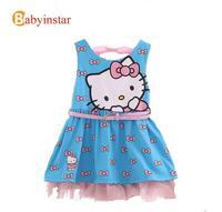 Hello Kitty Girl Dress Sleeveless for Summer:Bow Printed Pure Cotton Baby Girl Sundress Crewneck vestidos infantis Christmas