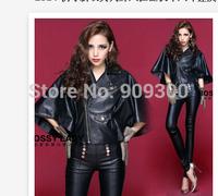 2015 new arrive street style fashiin plus size womne's coat PU black batwing outwear women casual slim leather jacket