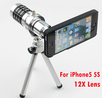 For iphone5 5s 12X Zoom Telescope Lens with Case&Tripod  12x Optical Zoom lens telescope for iPhone5s iPhone5 lens+retail box
