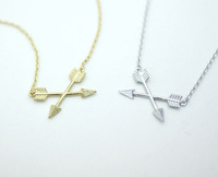Silver Crossed Arrows Necklace Charm on Delicate