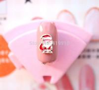 Free Shipping!50pcs Alloy Red And White Oil Santa Claus Christmas Anchor Nail Decoration DIY Origami Floating Nail Art D2556