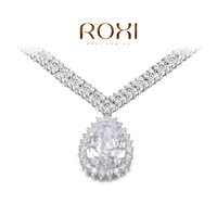 ROXI Gift swiss CZ Platinum plating luxury water drops necklace pendant arrow heart cuting Full set jewelry