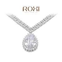 ROXI Gift swiss CZ Platinum plating luxury water drops necklace pendant arrow heart cuting Full set jewelry