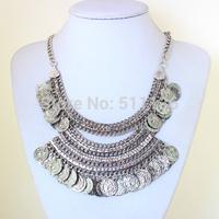 2014 bohemian Vintage Style Carving Flower Alloy Letter Coin Tassels Choker false collar Necklace Turkish Jewelry KK-SC769