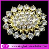 Free Shipping ! 5pcs/lot 51*42mm gold oval crystal rhinestone brooch pin for wedding