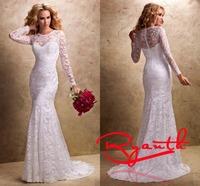 RBW102 Vestidos de Noiva Elegant O Neck Court Train Long Sleeve Lace Mermaid Wedding Dresses 2015 Wedding Gowns Bridal Dresses