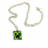 New Fashion Minecraft Necklace Cartoon Alloy My World JJ Strange Lanyards Green Face Necklace Statement Necklaces Men Jewelry