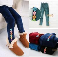2015 New Children's girls tight pants, Kids Girl Winter villi wool trousers ,5 colors warm Pants