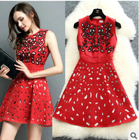 New Arrival Europe Style Autumn Winter Slim Dress With Fashion Beading Luxury Dress Beautiful Hollow Out Dress