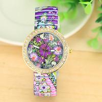 New Fashion ANTIQUE Flower STRETCHABLE WATCH Women Rhinestone Quartz Watch AW-SB-1250