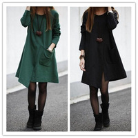M-XL, 2014 Spring Autumn Women Long-sleeve Irregular Dress Large Size Loose Paragraph Cotton Casual Dresses Vestidos L9020