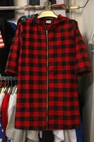 Extended Red Tartan Hood Plaid Shirt Tyga cool Gold Front zipper men and Women hip hop hba casual pyrex Hooded Flannel shirt