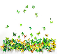 Novelty Home Decoration 3D DIY Butterfly Wall Sticker 7 colors 24pcs/lot free shipping