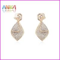 2014 Full CZ rhinestones fashion platinum plated stud earrings for women #107080