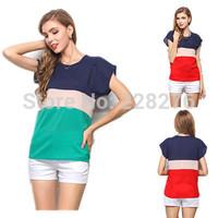 Blusas Femininas 2015 New Summer Women Blouse spell color Short Sleeve O-neck Woman Casual Shirts Tops Fashion roupas femininas