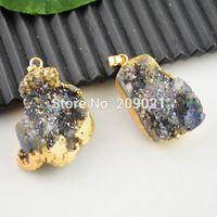 Unique Titanium Gold Plated Edge, Crystal Agate Druzy Drusy Quartz Geode Stone Pendant