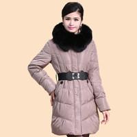 2014 Winter Thicken Warm Woman Down jacket Hooded Coat Parkas Outerweat Luxury Cold Fox Fur collar Plus Size 4XXXXL Long Khaki