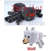 2pcs/lot Free shipping minecraft toys plush doll Genuine JJ dolls Children New Year gift Wolf & Bat
