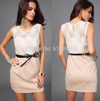 New Fashion Elegant O-neck Sleeveless Knee-length dress Jacquard lace mesh Temperament Charm Sexy Bodycon Rise Women Dresses