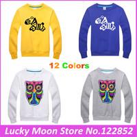 2015 Fashion Spring Autumn Winter Wear Thick Cartoon Owl Small zebra Sweatshirts Women Pullover Hoodies Casual Sweatshirt men